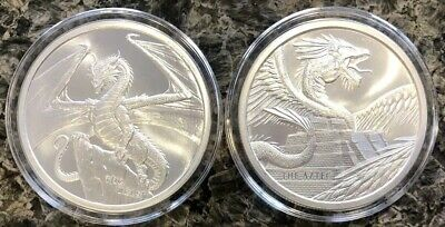 (Lot Of 2) Aztec & Welsh 1 Oz Silver .999 Round World Of Dragons In Capsules Bu