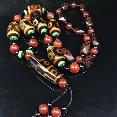 Tibetan prayer worry dzi bead agate//Unique 3 eyes necklace dzi tibet//7