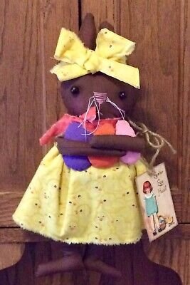 Primitive Easter Bunny Rabbit Doll Chocolate with Easter Egg Ornies