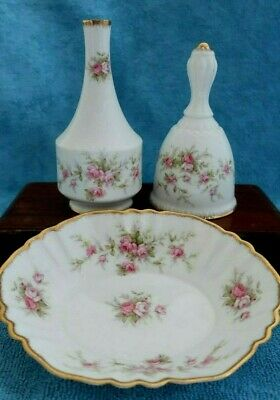 vintage PARAGON bone china VICTORIANA ROSE Table BELL, Bud VASE & small DISH