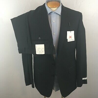 new calvin klein mens 2 piece suit nwt solid charcoal slim fit wool 42r ea0061
