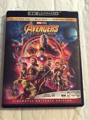 Avengers Infinity War  4K Ultra Hd + Blu-Ray ✔☆Mint☆✔ No Digital!