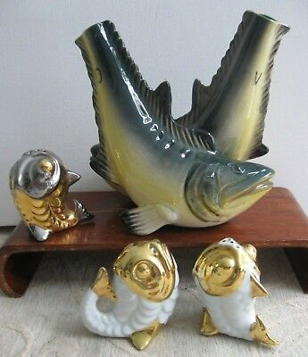vintage porcelain FISH form SALT & PEPPER SHAKERS OIL & VINEGAR BOTTLE - POURER
