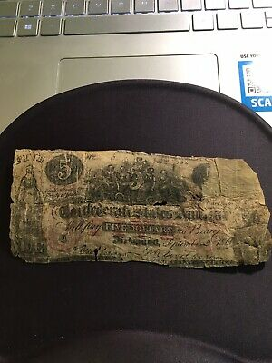 1861 Confederate States of America $5 Five Dollar Bill Civil War Currency T-31