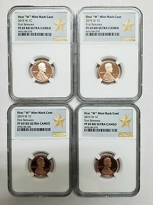 "2019 W First ""W"" Mint Mark Lincoln Cent NGC PF69 RD UC STAR x 4 FOUR COINS"