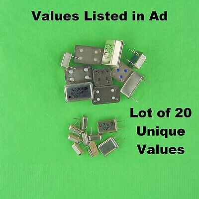Crystals / Crystal Clock Oscillator DIPs Lot of 20 Unique Values OEM Approved