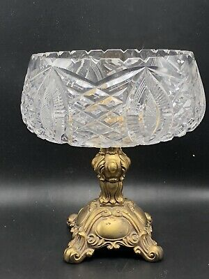 Clear Crystal Compote with Metal Base Stand Fruit Bowl Candy Dish