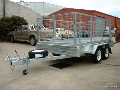 10x6 galvanised tandem trailer with mesh cage  2000kgs atm