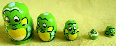 Frogs Russian Traditional Nesting Doll/Hand Made-Micro size/5-pieces Set/NEW!!!