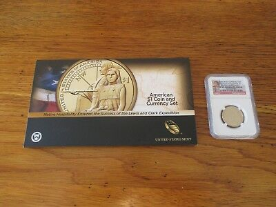 2014 Sacagawea Native American Enhanced coin and currency SP 69