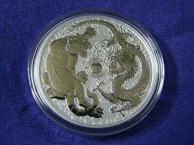 2018 Australia 1 oz Perth .9999 Silver Dragon & Tiger 50K (from mint roll)