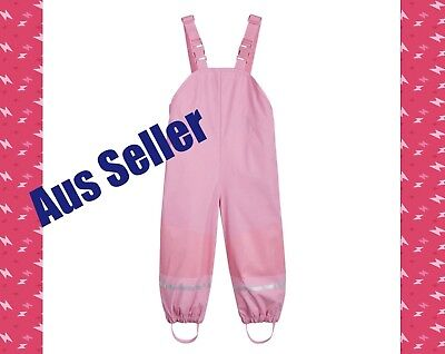 New Kids Toddler Winter Snow Pants Waterproof Overalls Girls Pink 12-24mths