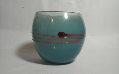 Unusual signed studio art glass vase bout 4.5 x 4.25