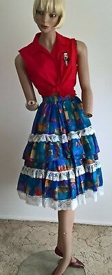 Vintage 80s two tier ruffle & lace trim rockabilly swing skirt size 12 14 16/M-L