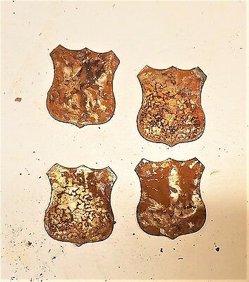 """Lot of 4 Snake Reptile Shapes 3/"""" Rusty Metal Vintage Ornament Craft Sign"""