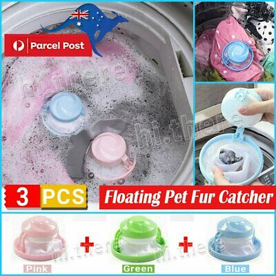 3x Floating Pet Fur Catcher Reusable Hair Remover Tool for Washing Machine Bag#N