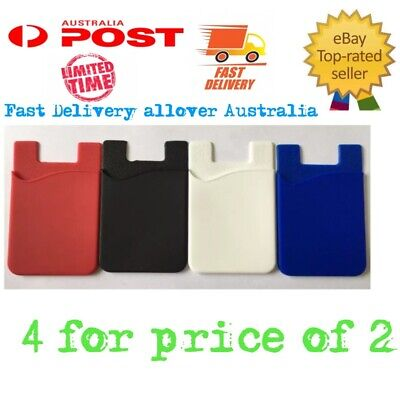4 X Smart Silicone Mobile Phone Wallet Stick On Cash Credit Card Holder