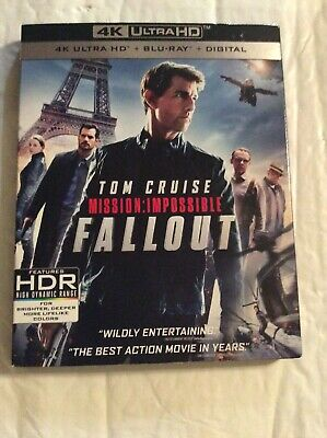 Mission Impossible Fallout 4K Ultra Hd Blu Ray 3 Disc Set Slipcover Free Shippin