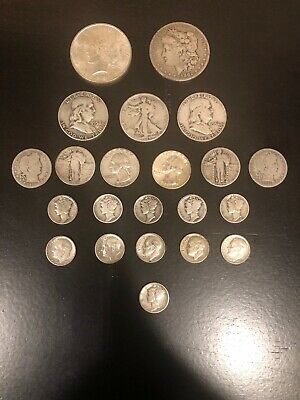US Coin Collection Lot; $6 Face Value 90% Silver Coins!  Peace, Morgan, Barber!!