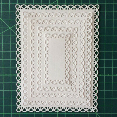 Cutting Dies Nested Stitched Scallop Rectangle Frame Metal Dies Craft
