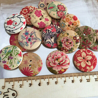 10PCS Flower Picture Wood Button 2 Holes Mixed Color Apparel Sewing DIY Craft