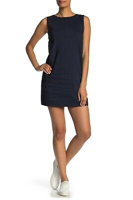 af3fd39fac Theory Didianne Sleeveless Linen Blend Shift Dress Spring Navy 00 NWT $275