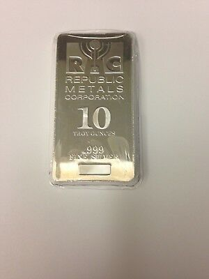 10 oz. RMC Silver Bar .999 FINE; MINT BU (BRAND NEW IN HEAT SEALED PLASTIC)