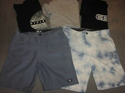Boys Size 14 Lot Piping Hot Boardshorts Peter Alexander + Elouera Surf T-Shirts