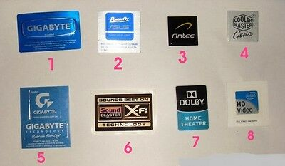 Desktop Case stickers Gigabyte ASUS Antec, Cooler Master, X-Fi Dolby $2.99 each