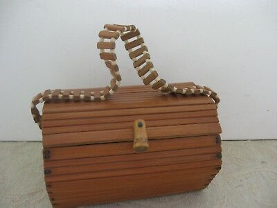 vintage retro 1960s bamboo wood Box style HAND BAG