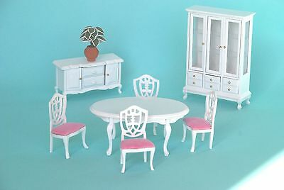 Wooden White & Pink Dinning Room Doll House Furniture Set