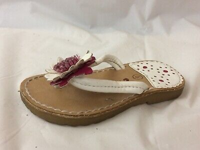18107778a6c9 Circo Girls 5 Baby Thong Flip Flop Sandals Leather Slip On White Pink Floral