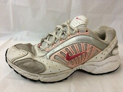 acf2c8478a5 Nike Womens 9.5 Wide White Pink Silver Leather Sneakers Running Athletic  Shoes