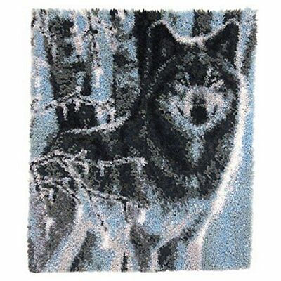 "Latch Hook Rug Kit""Winter Forest Wolf"" 110x90cm"