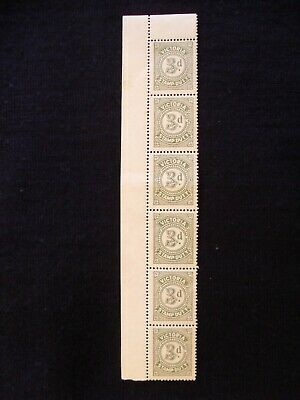 BLOCK OF SIX UNUSED VICTORIA 3d STAMP DUTY STAMPS