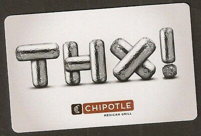 Chipotle no value collectible gift card mint #07 Thx