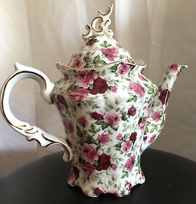 Victoria's Garden Porcelain Tea Pot 4-5 Cup  White Pink Roses 14 in hi Unused