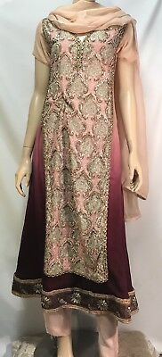 Traditional Women's Indian Three Piece Embellished Outfit - Size Small