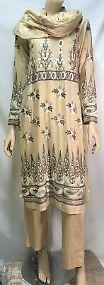 Traditional Women's Indian Three Piece Embroidered Outfit - Size Small