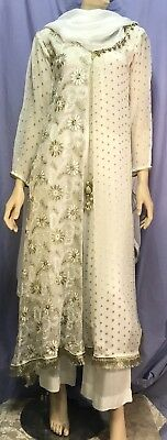 Traditional Indian Women's Embroidered White and Gold Three Piece Outfit - Size