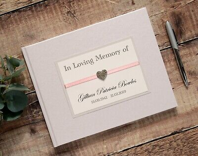 Personalised Book Of Condolence. Diamante Heart In Loving Memory Book.