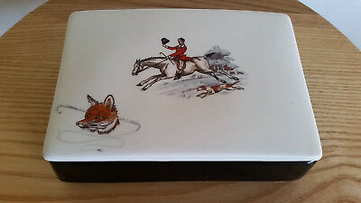 Antique/Vintage glass soap dish/card receptacle - Hunting, horse riding scene