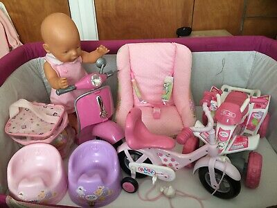 Baby Born Doll Bundle (COLLECTION ONLY) Bikes, Potty, Baby Carrier, Quad Bike