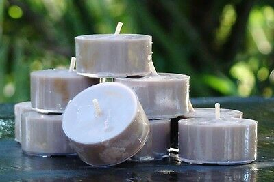 10pk 120hr/pack RUM, CAMPFIRE SMOKE & PATCHOULI SOY TEA LIGHT CANDLES Gift Box