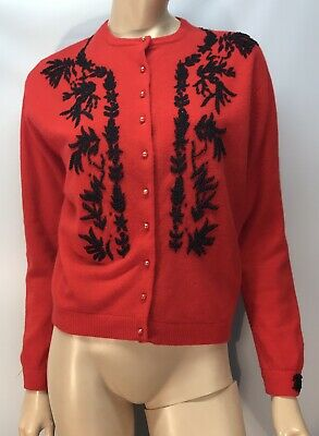 Vintage Red Beaded Cardigan - Size 42