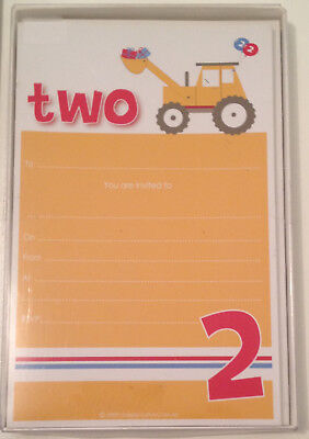 New Tractor Farm Party 2nd Birthday Invites With Envelopes Magnets Sambellina