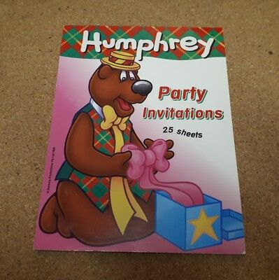 Humphrey B Bear 25 Party Invitations Pad Banksia Productions 1999