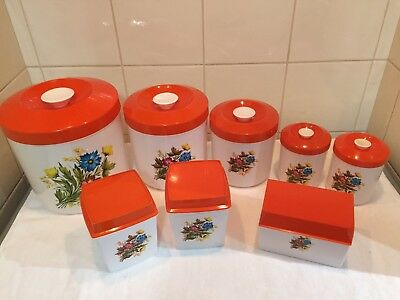 SET OF EIGHT RETRO VINTAGE CANISTERS ORANGE & WHITE FLORAL by BRITISH PLASTICS