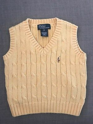 Polo Ralph Lauren Yellow vest kids 12 months Cotton Knit boys girls