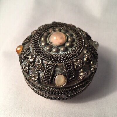 Antique Japanese Medicine/pill Box, Silver/pewter? Decorated With Agate Stones